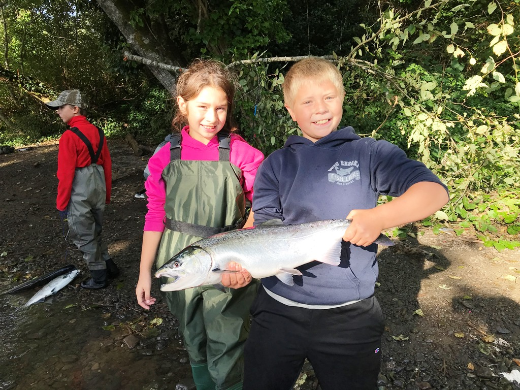 Blake Bernier catches his second salmon on the Big Quil River